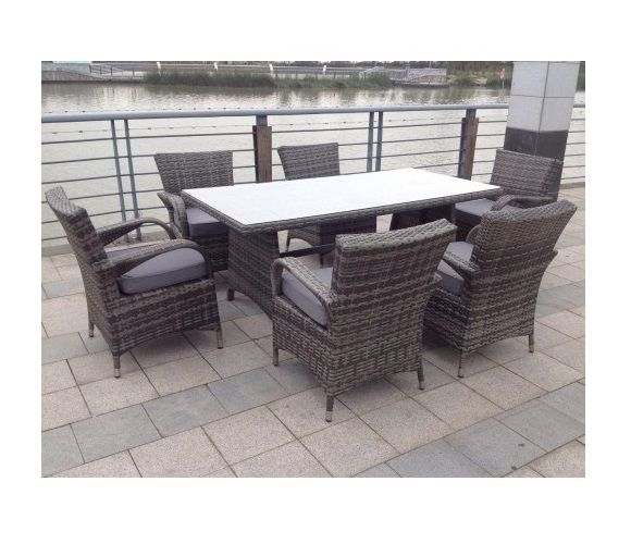 paradise 6 seater rectangle grey rattan garden furniture dining set
