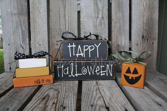 halloween: Minis Stacker, Wooden Pumpkin, Candy Corn, Halloween Pumpkin, Halloween Woods, Corn Minis, Woods Blocks, Halloween Blocks, Happy Halloween