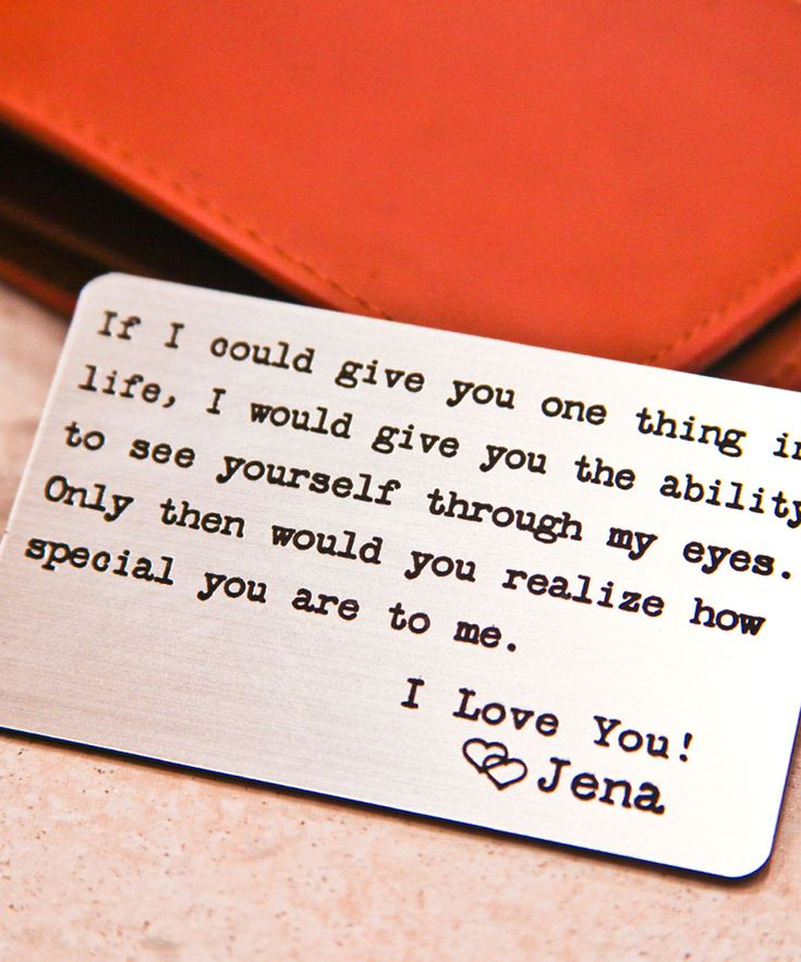 'If I Could Give You One Thing' Personalized Wallet Card Insert