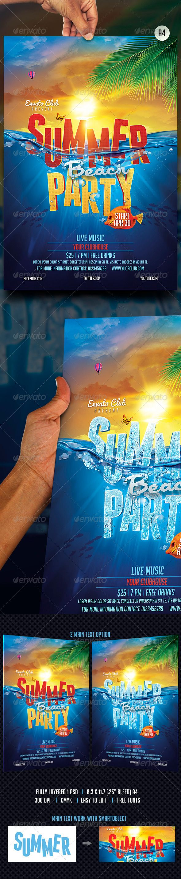 Summer Beach Party Flyer Template #design Download: http://ksioks.com/13-high-quality-summer-party-flyer-templates/