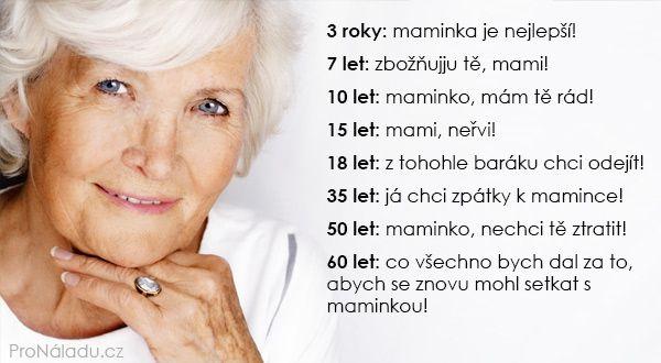 3 roky: maminka je nejlepší! 7 let: zbožňuji tě, mami! 10 let: maminko, mám tě rád! 15 let: mami, neřvi! 18 let: z tohohle baráku chci odejít! 35 let: já chci zpátky k mamince! 50 let: maminko, nechci tě ztratit! 60 let: co všechno bych dal za to, abych se znovu mohl setkat s maminkou!