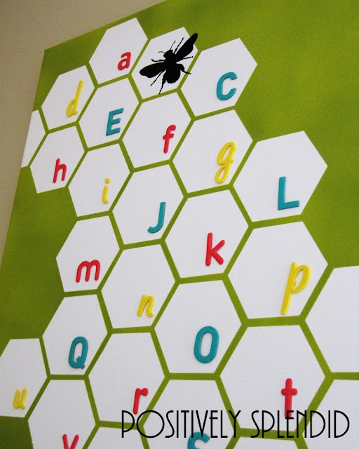 honeycomb alphabet wall art