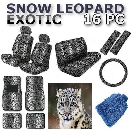 16pc SNOW GRAY LEOPARD Seat Covers Floor Mats Steering Wheel Cover FULL SET CS3