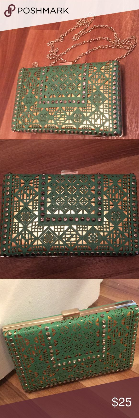 MMS Green and Gold Convert. Purse Clutch Beautiful green and gold convertible clutch or shoulder purse. Gold stud, and rhinestone details on the front. MMS Design Studio Bags Clutches & Wristlets