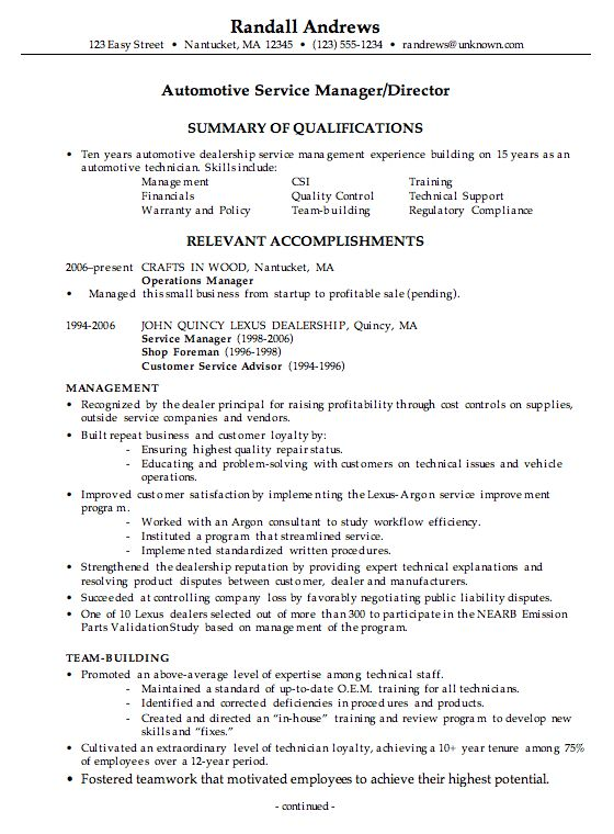 Perfect Sample Resume Customer Service Manager Resume For An Automotive Service  Manager   Susan Ireland Resumes