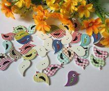 Mixed Bird Wood Sewing Buttons for craft Scrapbooking for DIY Two Holes 16mm x 21mm,100 Pcs botoes para artesanato(China (Mainland))