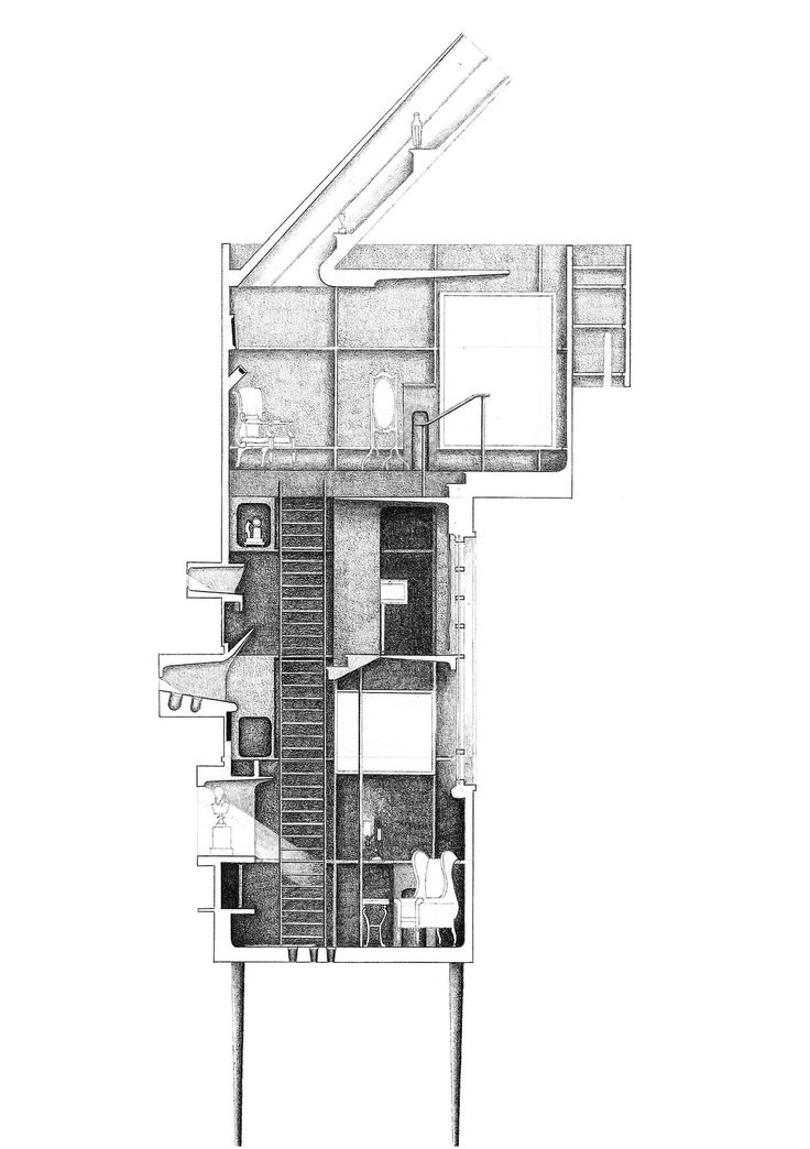 """kalastair: One of my drawings from my 5th year MArch project: """"A Home, an Office and a University"""", an investigation of architect Sir Albert Richardson (1880-1964) Currently on exhibition as part of the Bartlett School of Architecture Summer Show, (see previous post) until 5th July, in the Unit 12 space. Also online at www.alastairking.com"""