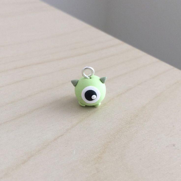 Cute Mike Wazowski Polymer Clay Charm by Tripleyum on Etsy https://www.etsy.com/listing/228872257/cute-mike-wazowski-polymer-clay-charm