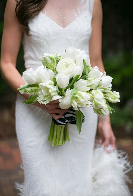Brides: Classic Bouquet of White Tulips and Ranunculus. An all-white bouquet comprised of ranunculus and tulips, created by Flower Muse.