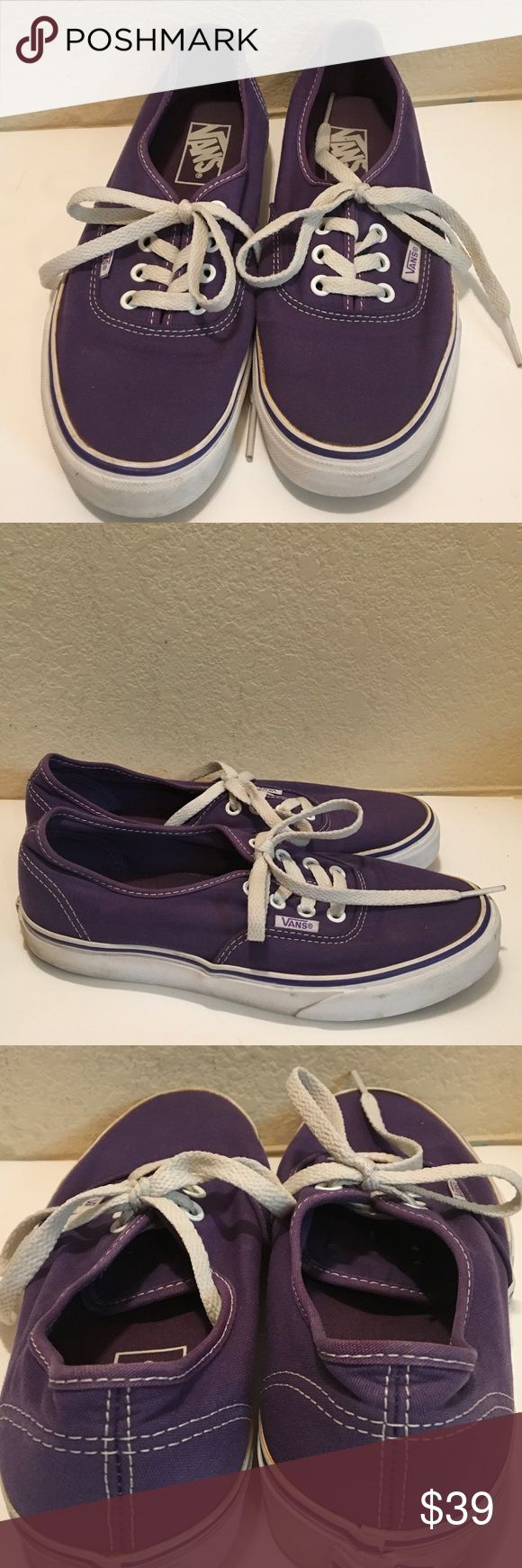 VANS PURPLE lace up sneakers trending M-6 W-7.5 Trending hot shoes in bright purple canvas surrounded by white plastic-sides. . Soles are rubberized tread Lace Up VANS label prominent. Unisex.. men's -6 M women's 7.5 M A great shoe in nice condition. 🍁🕉🍁🕉🍁🕉🍁 Vans Shoes