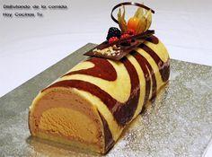 Tronco de chocolate y mousse de caramelo especiada