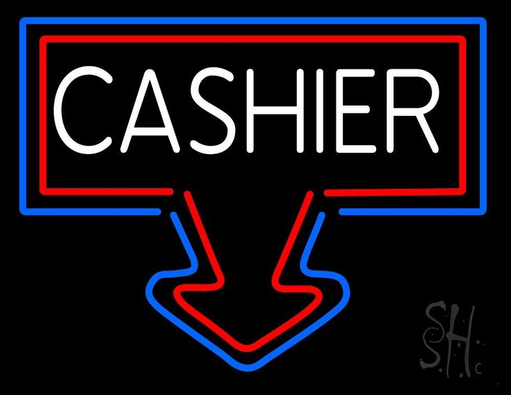Arrow Cashier Neon Sign 24 Tall x 31 Wide x 3 Deep, is 100% Handcrafted with Real Glass Tube Neon Sign. !!! Made in USA !!!  Colors on the sign are Red, White and Blue. Arrow Cashier Neon Sign is high impact, eye catching, real glass tube neon sign. This characteristic glow can attract customers like nothing else, virtually burning your identity into the minds of potential and future customers. Arrow Cashier Neon Sign can be left on 24 hours a day, seven days a week, 365 days a year...