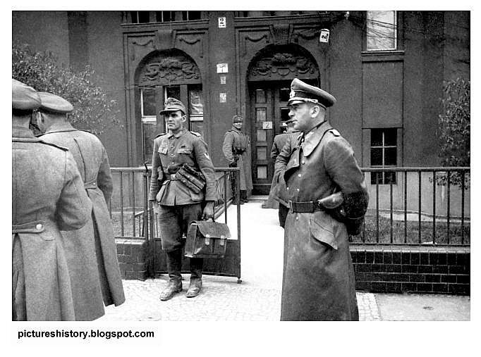 The despair. Chief of Staff of the wrecked German Army, General Hans Krebs arrives at the Soviet Army headquarters in Berlin on May 1, 1945. Krebs shot himself later that day.