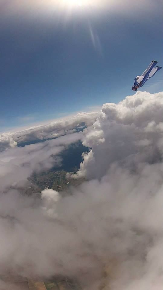 #First #Wingsuit #Flight!   Yes - thats his first EVER wingsuit flight... thats one happy student!  - with Instructor @Dan Vicary