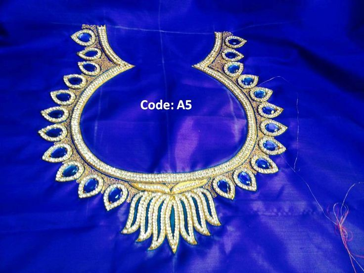 Kundan and chain stone work embroidery for blouse