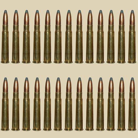 Brass Rifle Ammo Bandolier on Tan fabric by bohobear on Spoonflower - custom fabric