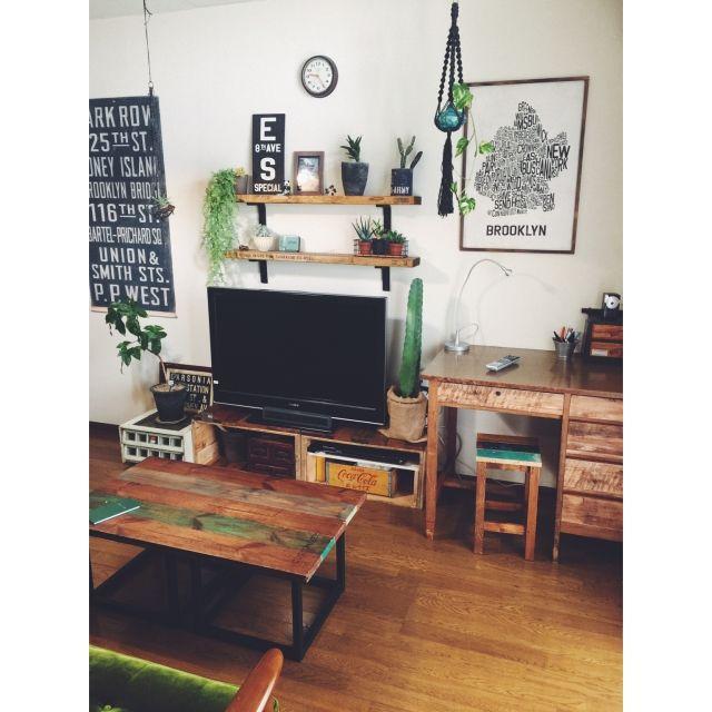 模様替え/フェイクグリーン/古家具のある空間/古家具/DIY棚/バスロールサイン…などのインテリア実例 - 2015-04-23 09:49:10 | RoomClip(ルームクリップ)