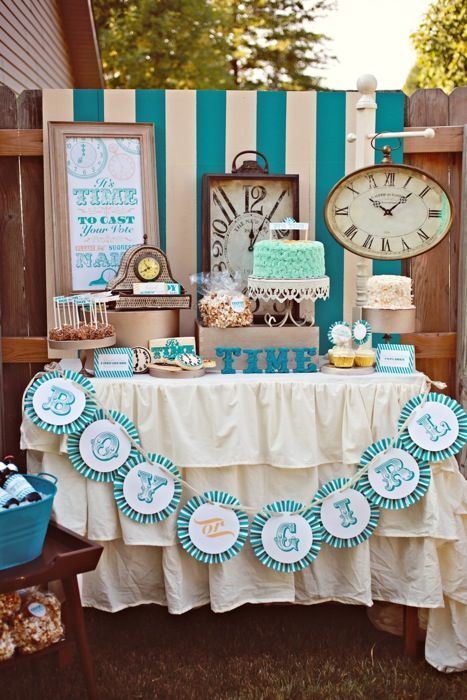"""""""It's Time"""" - what a fun, gender neutral baby shower theme/idea!"""
