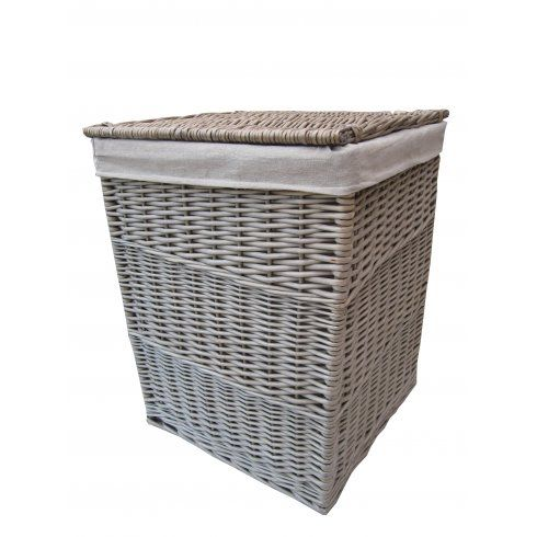 Antique Wash Square Wicker Laundry Basket