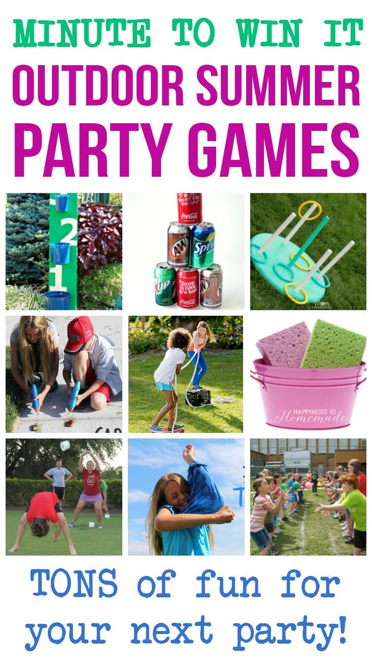 Minute to Win It Outdoor Summer Party Games -  These fun (and funny!) Minute to Win It Games are perfect for your next outdoor summer block party, bbq, family reunion, or backyard bash! Great for all ages! - Happiness is Homemade