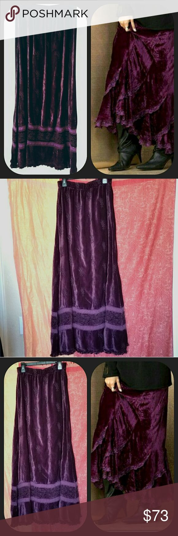 "CP Shades Maxi Skirt Deep Wine Ruffled Velvet Very Boho Steam Punk Victorian Goth. CP Shades Maxi Skirt. Deep Wine Colored Ruffled Velvet Skirt. Lightly embossed or burnout maroon,velvet with small hem ruffle. Elastic waist. Size M Measurements taken flat: Waistband 13"" - 16""  Length 38"" C P Shades Skirts Maxi"
