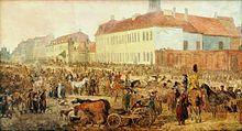 Targ na konie na ul. Królewskiej w Warszawie, 1791