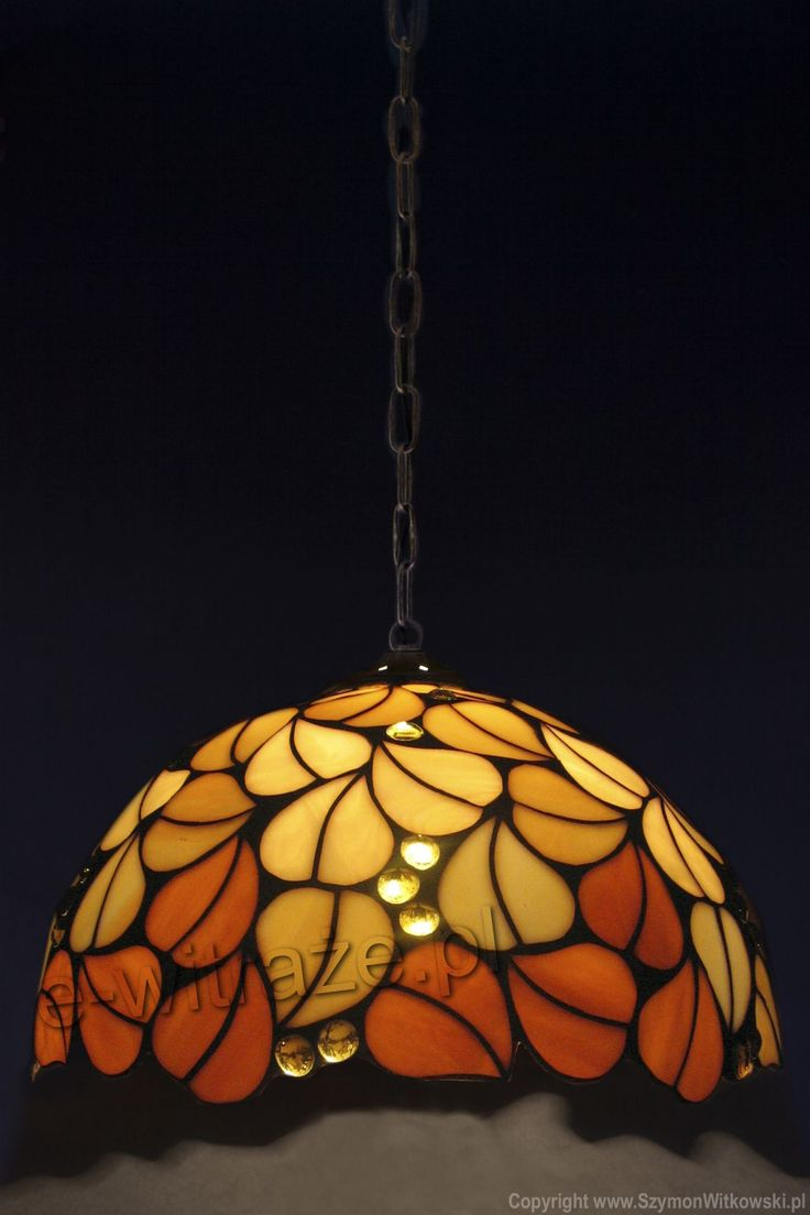Louis Comfort Tiffany Studios New York, Brown Leaves hanging lamp, handcrafted by Wieniawa-Piasecki Workshop www.e-witraze.pl