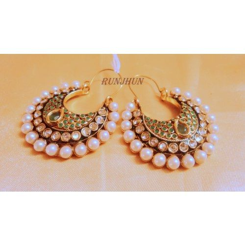 Online Shopping for green polki bali | Earrings | Unique Indian Products by Runjhun Designer Jewellery  - MRUNJ19093914780