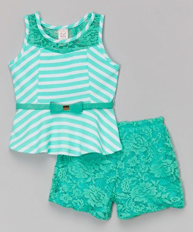 Take a look at this Teal Stripe Belted Peplum Top & Lace Shorts - Toddler & Girls on zulily today!