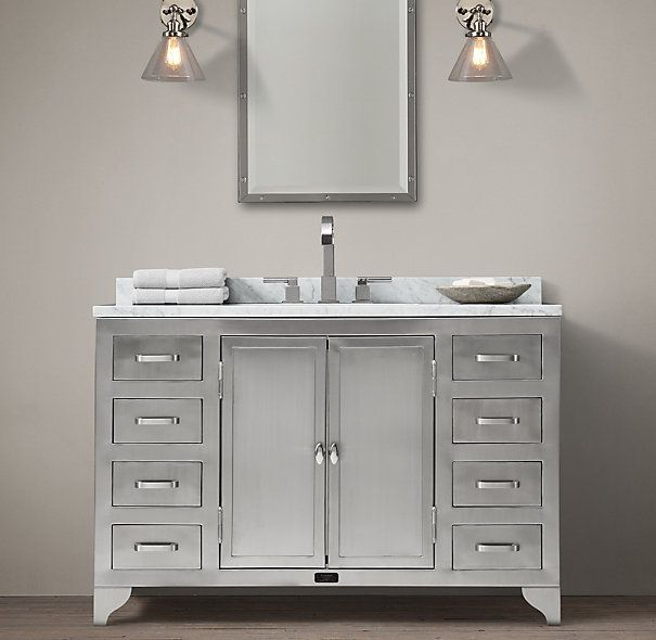 1930s Laboratory Stainless Steel Extra-Wide Single Vanity Sink- $3595 [restoration hardware]