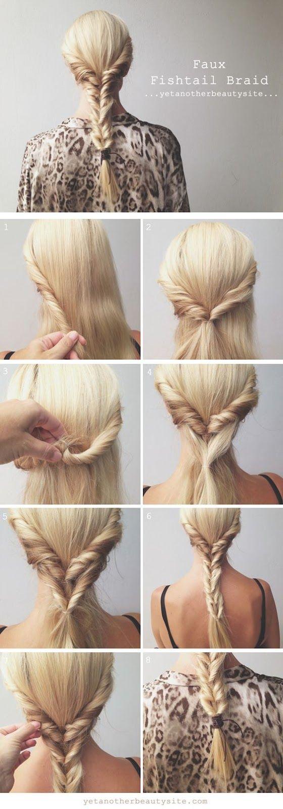 Ideia de penteado fácil e rapidinho: falsa trança escama de peixe