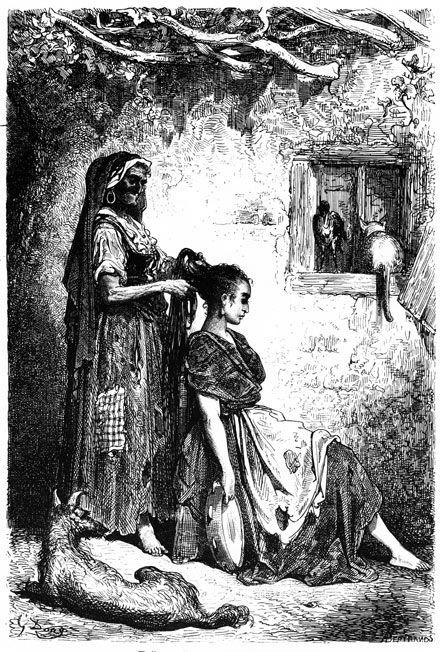 Gitanas de Diezma  Paul Gustave Dore  French artist (1832—1883)  Engraving. 1874.  http://english.svenko.net/paintings/tambourine_2.htm