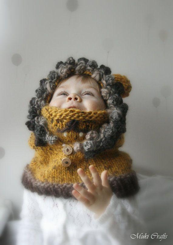KNITTING PATTERN hoodie cowl Lion Leon baby toddler di MukiCrafts
