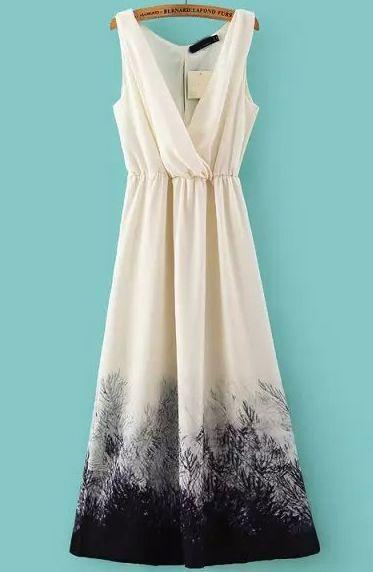 Apricot V Neck Ink Print Maxi Dress-SheIn