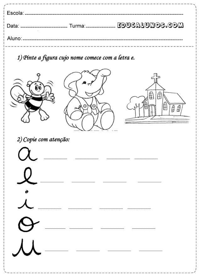 Professores: Atividades de português 1 ano com vogais