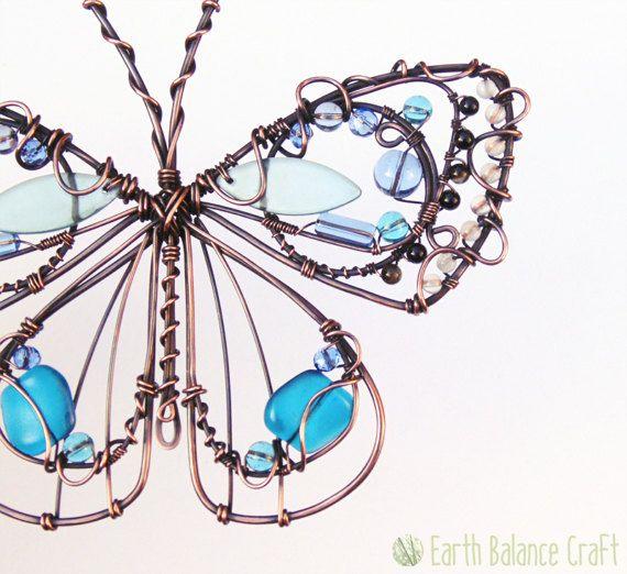 Suncatcher Adonis mariposa azul cobre alambre arte de la