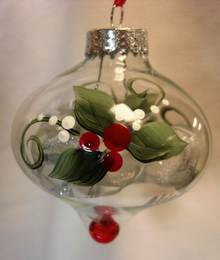 Hand decorated glass christmas ornaments for Painted glass ornaments crafts