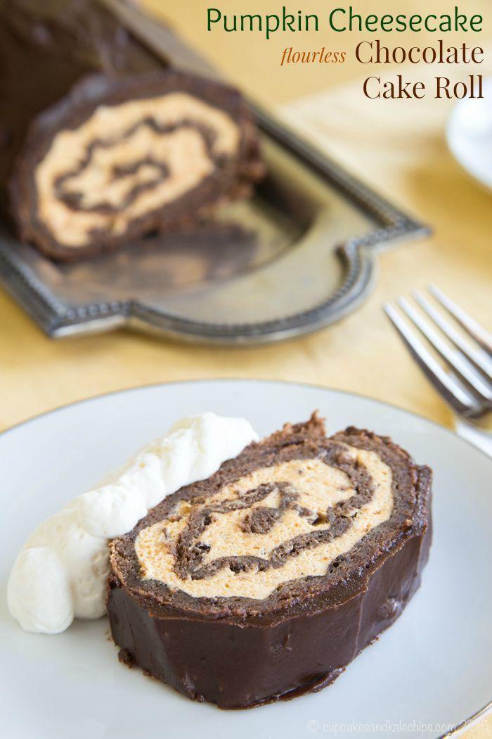 Pumpkin Cheesecake Flourless Chocolate Cake Roll - an impressive dessert for fall with pumpkin cheesecake mousse, chocolate sponge cake, and rich chocolate ganache. | cupcakesandkalechips.com | gluten free recipe
