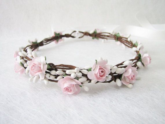 Wedding Floral Crown Light Pink Flower Headband by HydrangeasLover