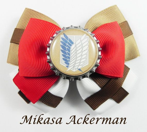 Hey, I found this really awesome Etsy listing at https://www.etsy.com/listing/226002053/mikasa-ackerman-hair-bow-attack-on-titan