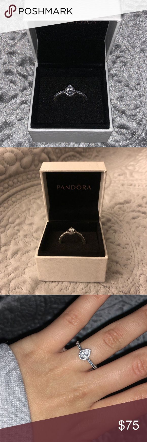 Pandora Ring Teardrop diamond ring from pandora, still in box... worn once for a wedding:)make offers!!! Pandora Jewelry Rings #pandoraJewelry