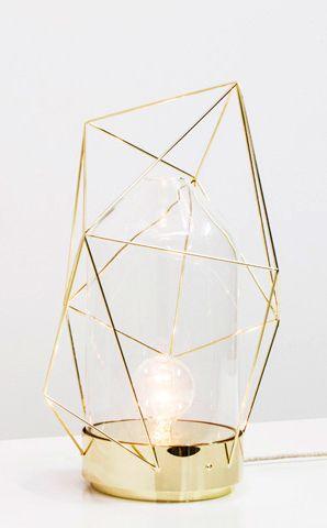 Gold geometric table lamp.  La touche d'Agathe - Marbre et copper - . Marbre, marbel, cuivre, copper, gold, or, #light #lighting #desklamp