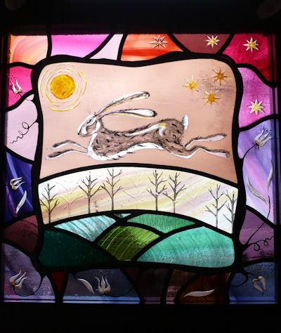 Harvest Hare stained glass Karen Davies