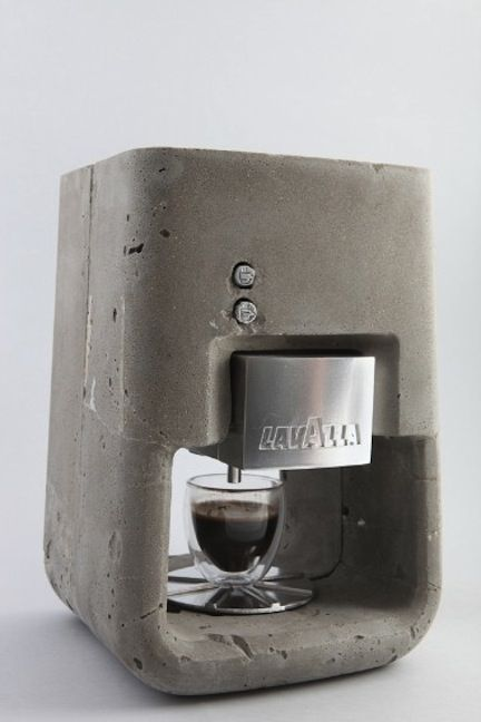 Drinking #Coffee in the Prehistoric age? maybe it was possible,check this out: @Jenn L Milsaps L Rosenhoffer  www.romesuiterome.com Concrete Lavazza Coffee Machine