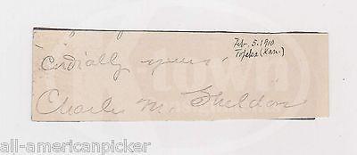CHARLES SHELDON SOCIAL GOSPEL AUTHOR MINISTER ORIGINAL AUTOGRAPH SIGNATURE 1910