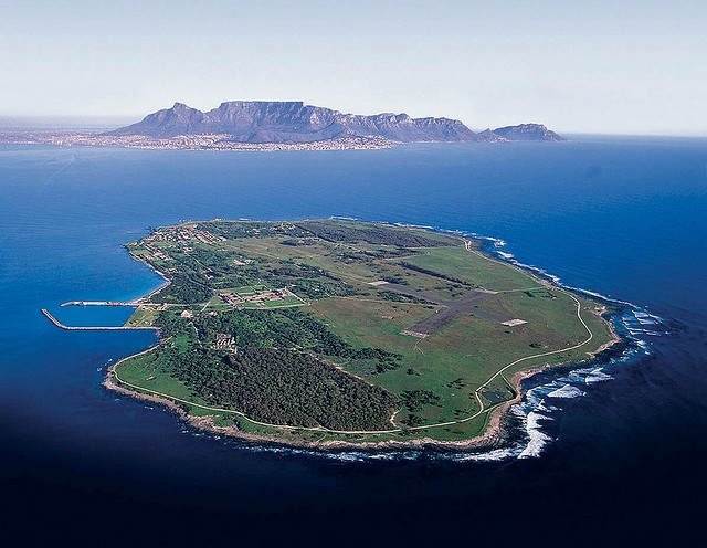 Robben Island (South Africa). 'A World Heritage site, the former prison on Robben Island is a key location in South Africa's long walk to freedom. Nelson Mandela and other Freedom struggle heroes were incarcerated here, following in the tragic footsteps of earlier fighters against the several colonial governments that ruled over the Cape.'
