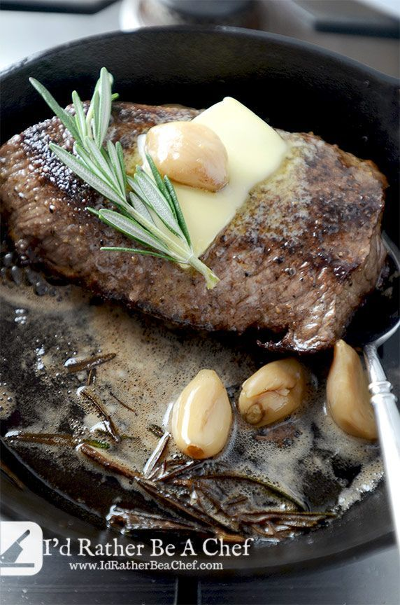 pan seared steak recipe getting finished