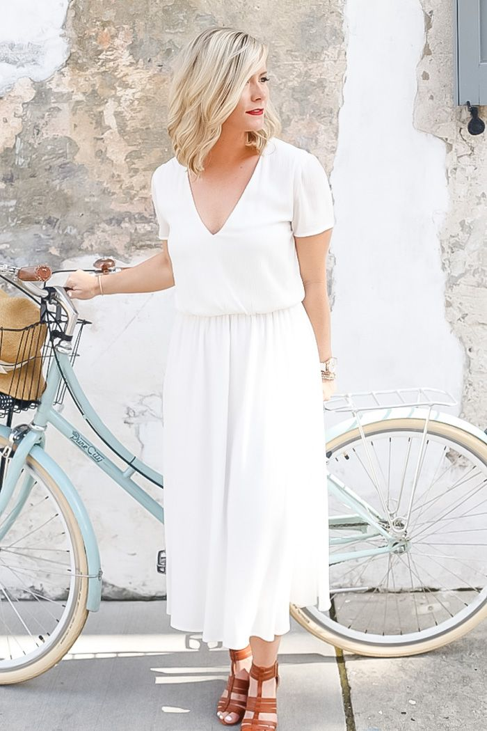 Afternoon Espresso Blogger, Ashley Pletcher Explores Charleston, South Carolina on Cruiser Bike Wearing a Wayf White Dress and Sole Society Sandals