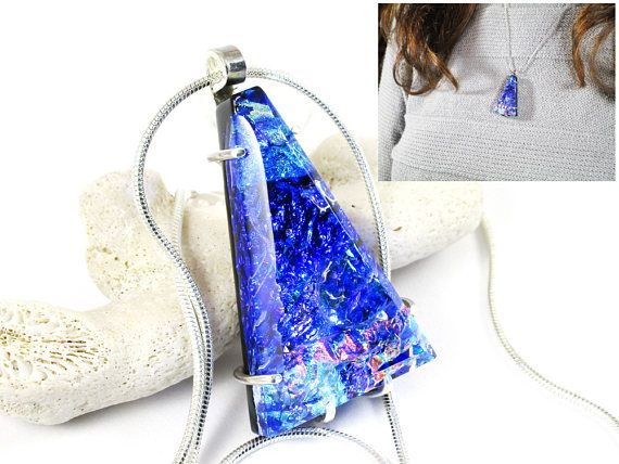 Blue Triangular Pendant Sterling Silver Prong Setting Parti