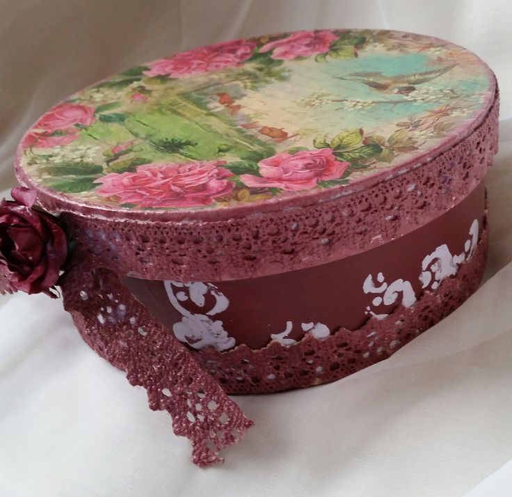 Vintage Handmade Jewelry Box with Lace and Paper Rose